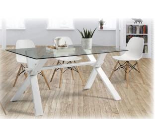 Conjunto de mesa + cuatro sillas. Cristal templado.
