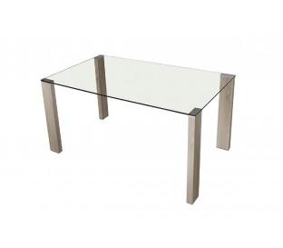 Mesa comedor. Cristal. Patas blancas.