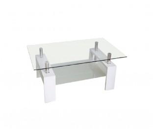Mesa centro. Cristal. Patas blancas.